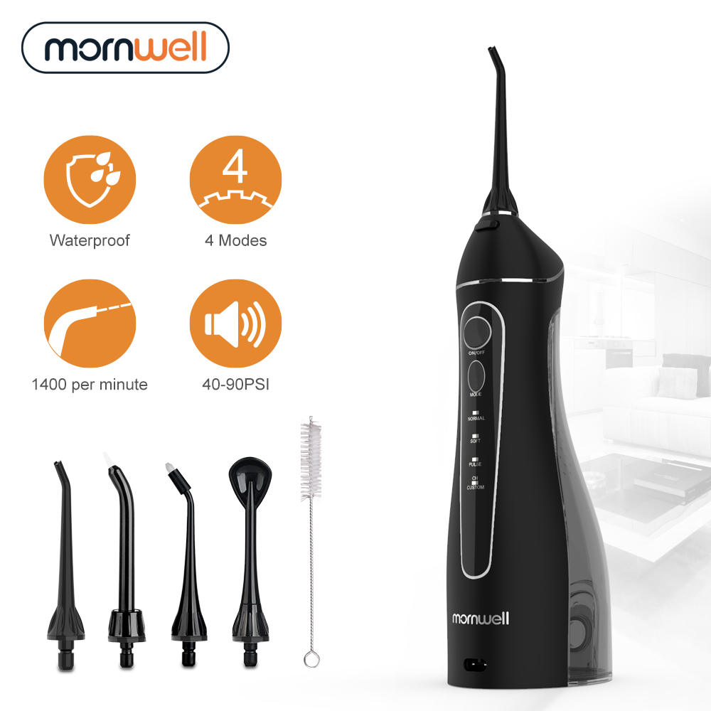 Oral-Irrigator Nozzles Water-Flosser Mornwell Rechargeable with Travel-Bag USB 200ml