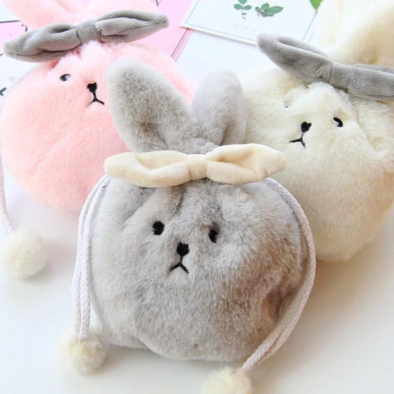 Kawaii Portable Plush Rabbit Box Makeup Cosmetic Bag Drawstring Toiletry Case H66