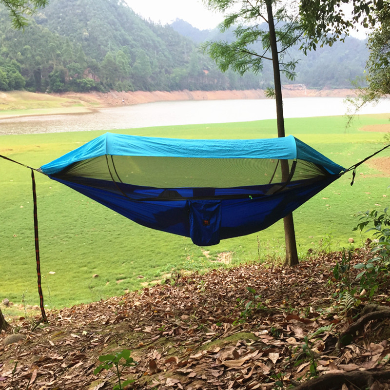 Cross Border New Style Patented Anti-mosquito + Sun-resistant Hammock Seconds to Open with Mosquito Net Swing Ground Tent Outdoo