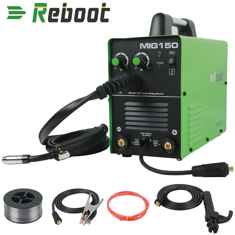 Reboot MIG Welder Gas Gasless Mig150 Welder DC 220V 2 In 1 Flux Core Wire Inverter Welding Machine MMA MIG MAG IGBT Welder