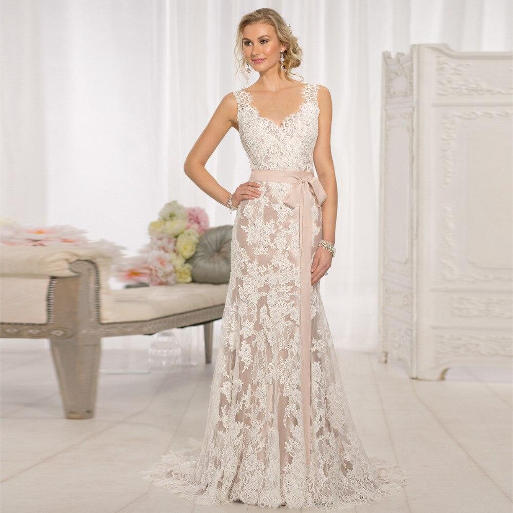Vestido De Novia V-neck Backless Appliques Court Train Customized Vestido De Renda Bridal Gown 2018 Mother Of The Bride Dresses