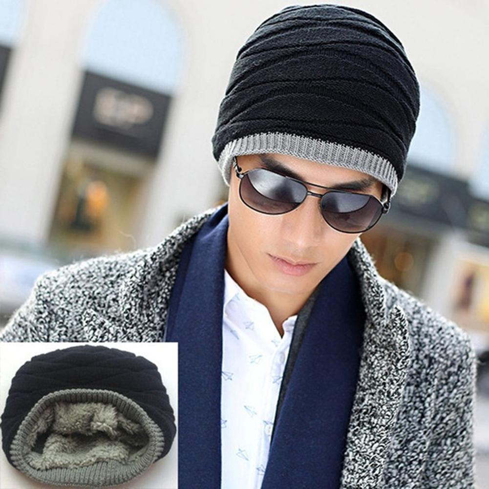 11.11 Fashion Knitted Autumn Winter Thick And Warm Men Stretch Plush Lined Slouch Soft Knitted Hat Hip Hop Beanie Christmas Gift