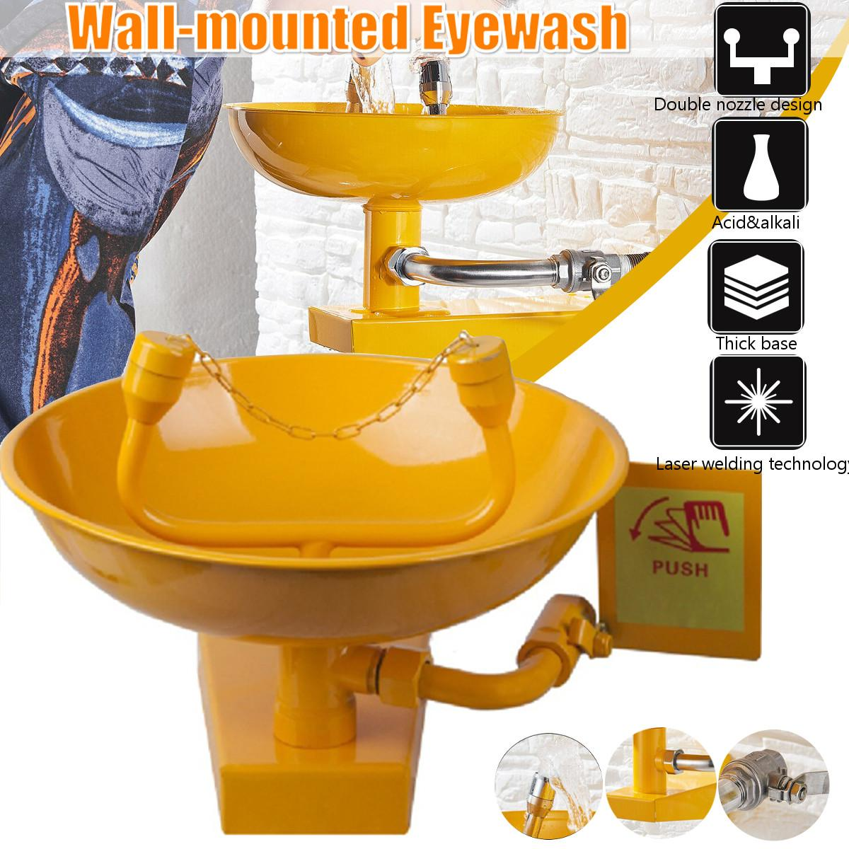 Stainless Steel Safety Equipment Emergency Eye Wash Station Wall Mounted Double-port Eye Wash Bowl Washer Fist Aid Tool