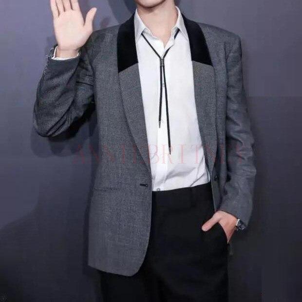 ANNIEBRITNEY Grey Men Suit Custom Black Velvet Applique Slim Fit Tuxedo 2Pcs Groom Wedding Suits Blazer Jacket With Pants Set