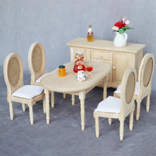 1/12 Dolls Miniature Furniture Wooden Unpainted Dining Chair for Dollhouse Decor pretend play toy Furniture Toys kid toy