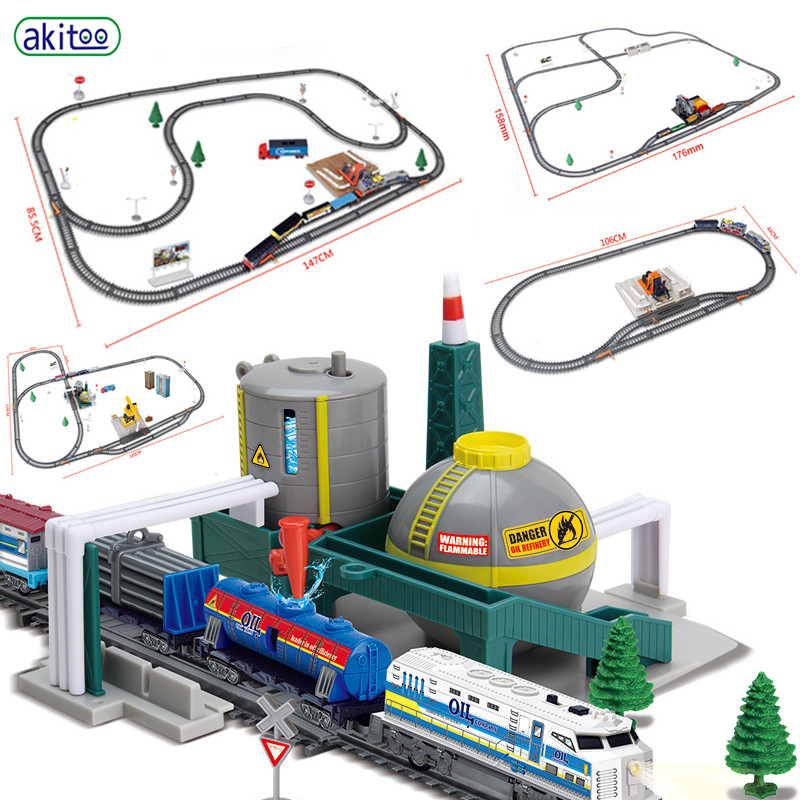 Akitoo Simulation Electric Engineering Rail Car Lumberyard Refinery Car Loader Crane Railway Station Multi-scenario Toy  #1005