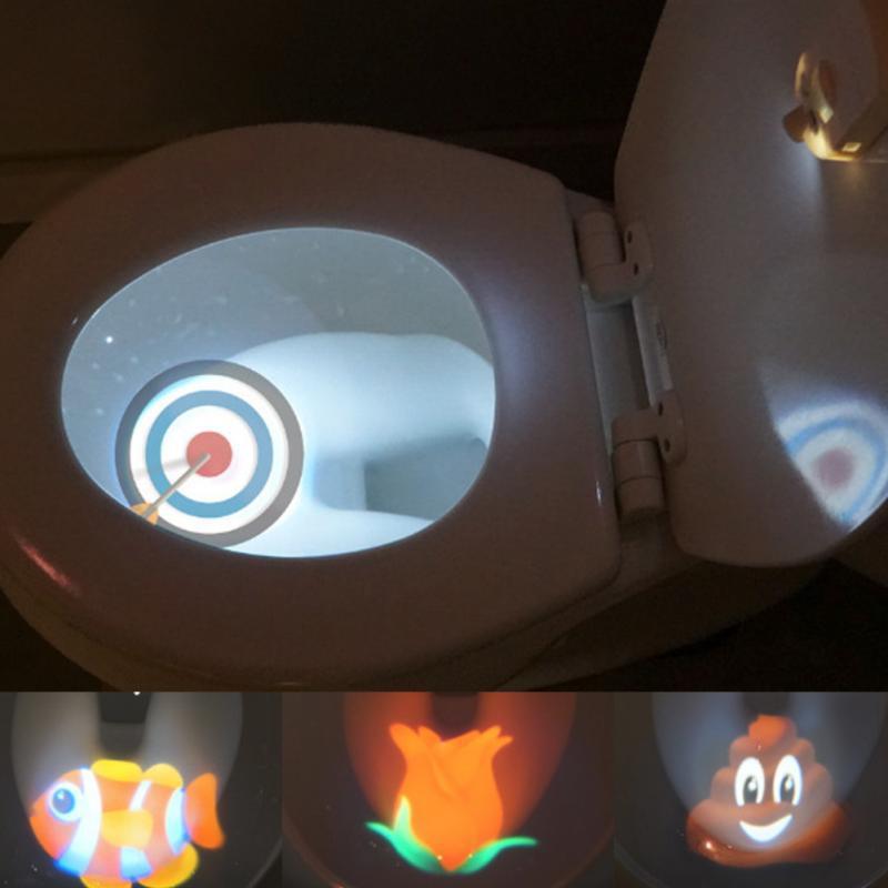 Toilet Seat Night Light Motion Sensor Toilet Light 8 Colors Interchangeable Lamp AAA Battery Powered Backlight ForChild Toilet B