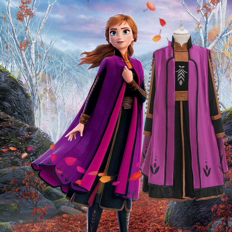 HOT Snow Queen Anna Elsa Princess Cosplay Costume Frozen 2 Fancy Dress Customize Anna Elsa Cute Girl Party Christmas