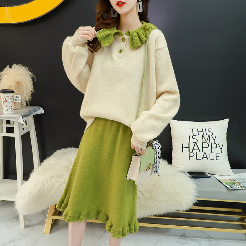 Hipster Peter Pan Collar Sweater WOMEN'S Skirt Two-Piece Set Autumn Western Style Online Celebrity Very Fairy Of Knitting Suit E