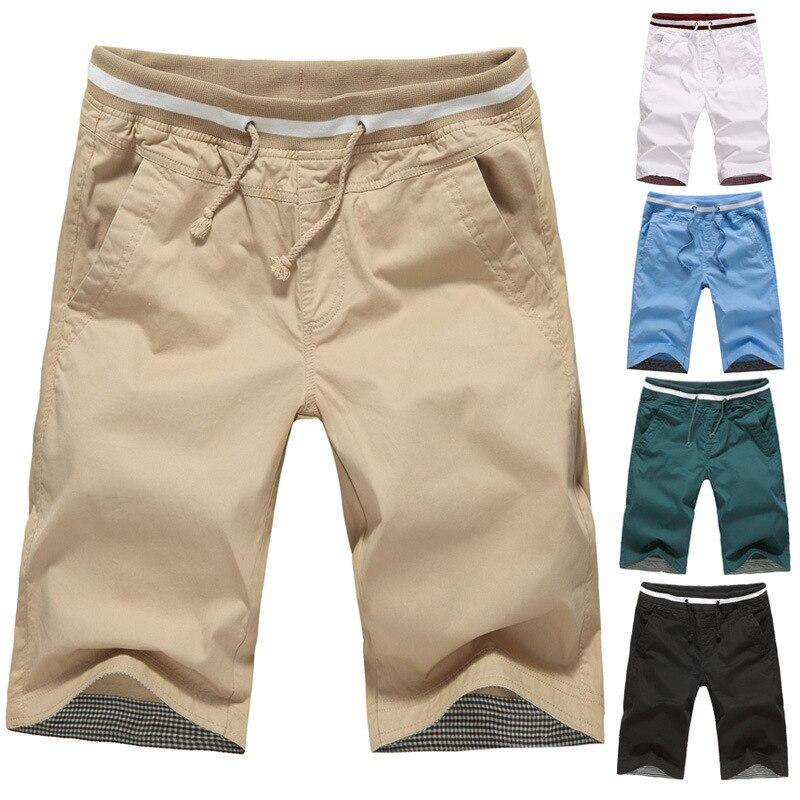 Summer New Style Men's Pure Cotton Casual Shorts Cotton MEN'S Middle Pants Beach Shorts Men'S Wear Elastic Waist