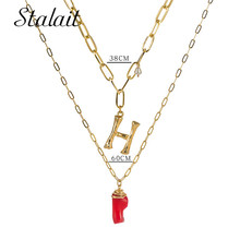 26 Alphabet Letter Pearl Pendant Necklace Initials Name Red Coral Customized Gifts Gold Color Link Chain For Women Gift