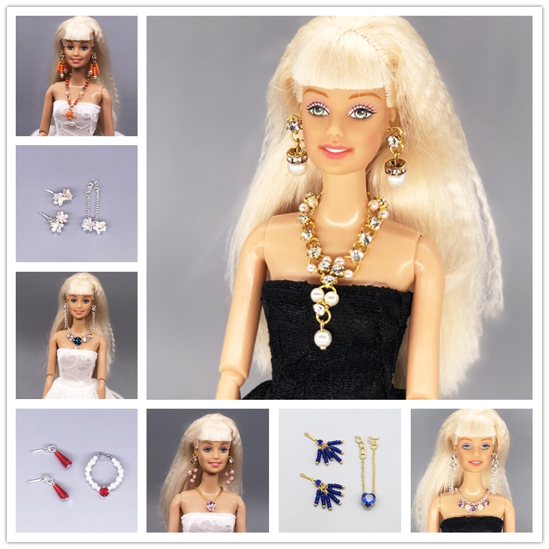 Jewelry Set Earrings And Necklace / Doll Accessories DIY Cosplay For Baby Toy 1/6 Xinyi Barbie FR Doll, Barbie Accessories