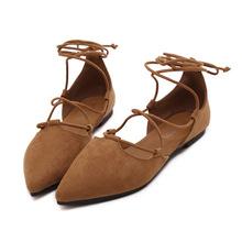 Wiosna lato 2021 nowy pasek krzyżowy płaskie miękkie podeszwy buty rzymskie wiązane płaskie buty buty duże damskie buty damskie Pointed Toe Fashion tanie tanio LZXGSJ Podstawowe CN (pochodzenie) Flock Szpiczasty nosek RUBBER Lace-up Pasuje prawda na wymiar weź swój normalny rozmiar