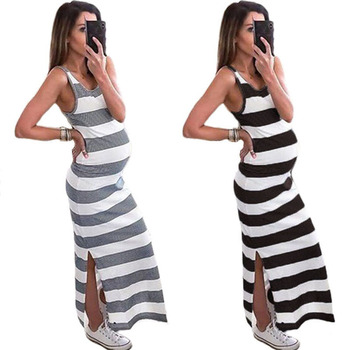 Summer Maternity Dress Pregnancy Sleeveless Women Pregnants Clothes Striped Strap Dresses Comfortable