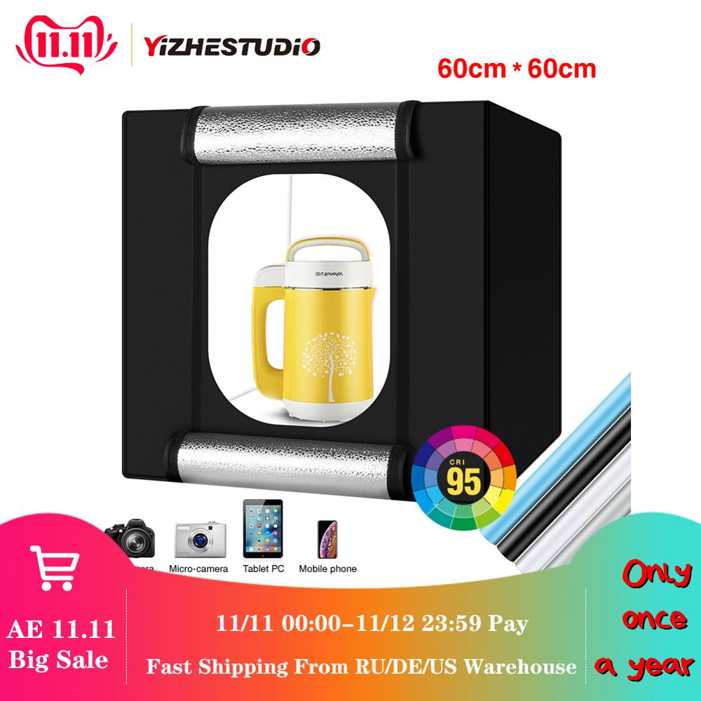 Yizhestudio 60 cm LED light box Folding Photo Studio Softbox light Tent with white yellow black background Accessories box light-in Tabletop Shooting from Consumer Electronics