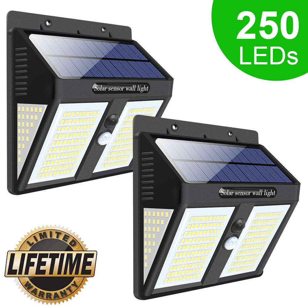 140/250 LED Solar Lights For Garden Decoration Outdoor Home Solar Powered Street Wall Lamp Solar Motion Sensor Light Waterproof