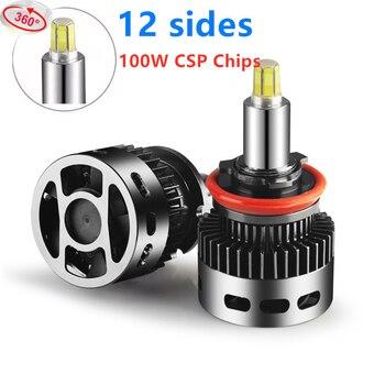 12 sides H7 Car Lights H1 LED Headlights Bulb 3D 360 degree 12V 50W H11 LED H8 HB3 9005 HB4 9006 9012 Hir2 Auto automovil lamp