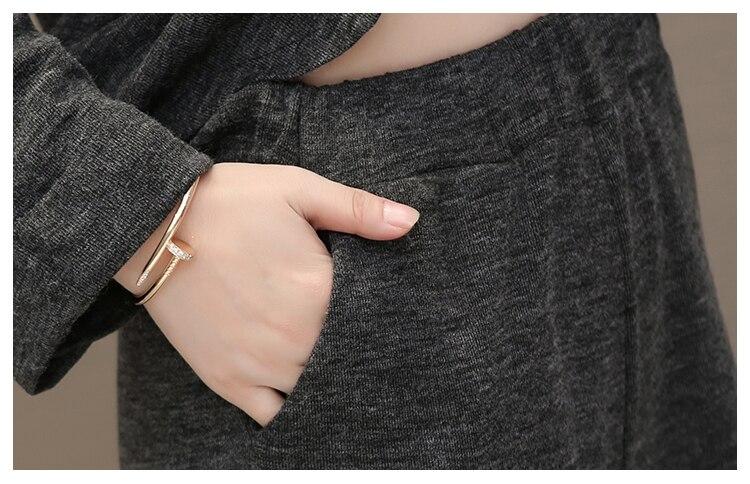 Autumn Winter Grey Two Piece Sets Outfits Women Plus Size Long Sleeve Tops And Pants Suits Elegant Fashion Korean 2 Piece Sets 34