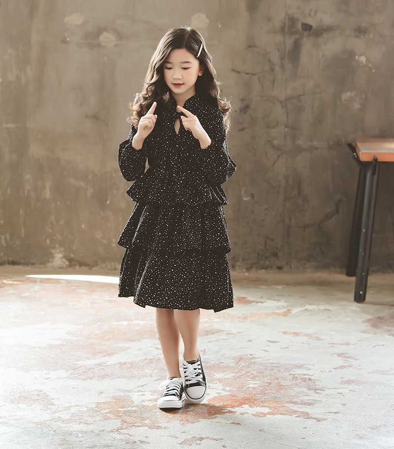 Teen Kids Autumn Dress Black Winter Girls Dresses New 2019 Fashion Children Baby Princess Dress Mother And Daughter Clothing