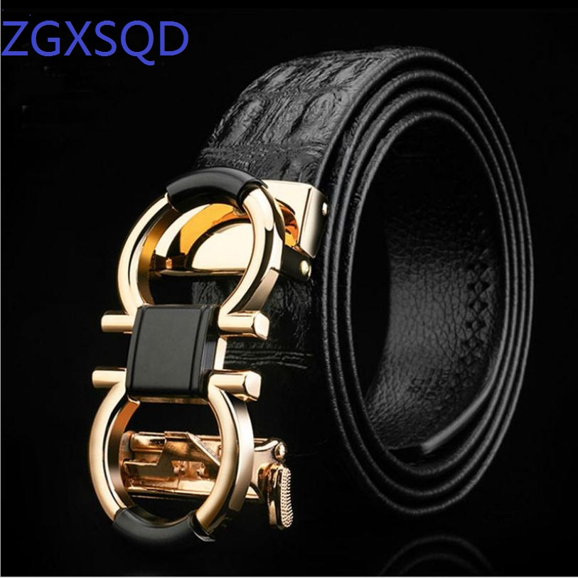 High-Grade Crocodil  Men's Leather Embossing Automatic Checkoff Full-Grain Leather Business Waistband GG Belt Luxury Designer