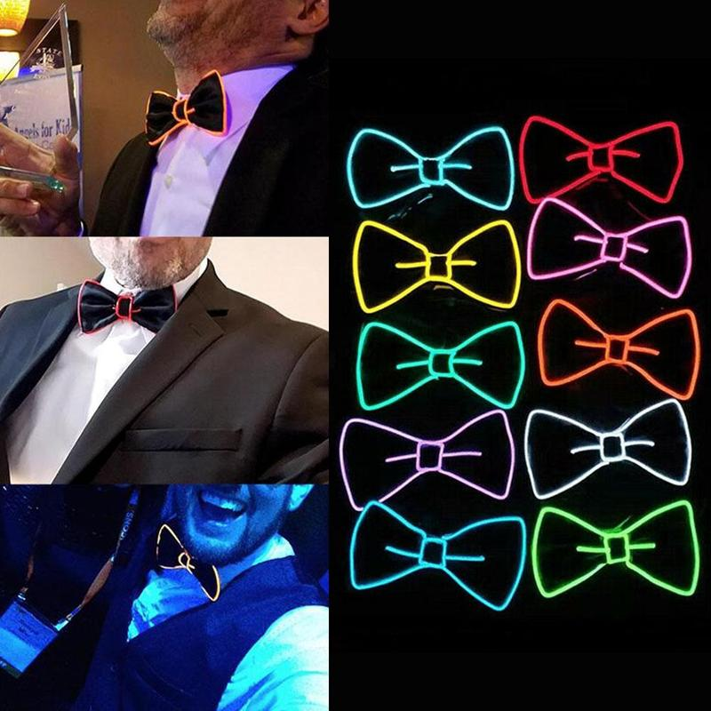 1pcs El/Led Light Line Luminous Bow Tie Flash Bow Tie Fluorescent Dance Props Flash Bow Tie For Club Cosplay Party Decoration