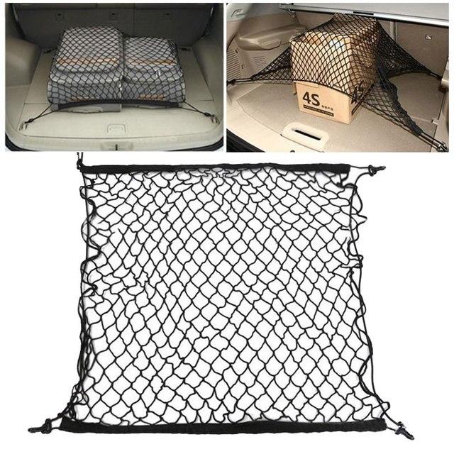 Universal Cargo Net für Auto Stamm 70x70cm Stamm Gepäck Lagerung Transport Organizer Nylon Dehnbare Elastische Mesh Net mit 4 Haken