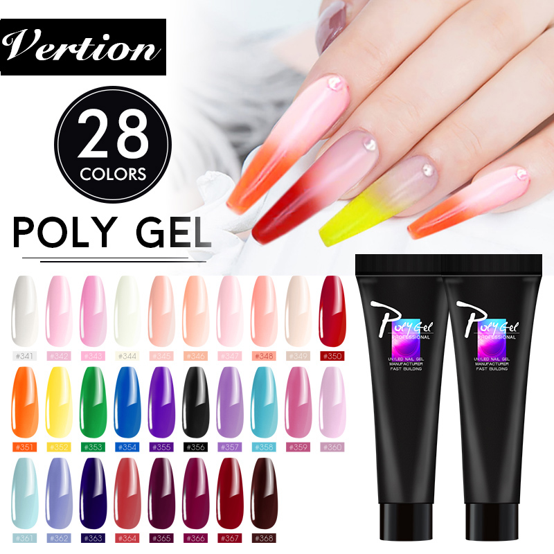 Verntion Crystal Jelly Color Polygel Nail Builder Extension Gel Nail Art Easy To Handle Acrylic Gel For Nail Extensions Manicure