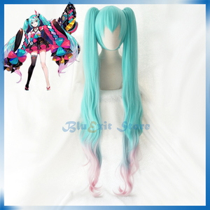 2020 Hatsune Miku Wig MAGICAL MIRAI Wig VOCALOID Festivals Blue 120cm Long Curly Twin Ponytails Synthetic Hair(China)
