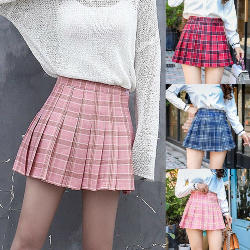 Women Fashion Plaid High Waist Tennis Skirt Flared Pleated Short School Style Girl Mini Skirt