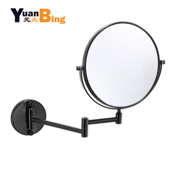 bathroom mirror antique red copper double side make up mirror dressing room round magnifying cosmetic mirror wall mounted nba631 Dressing Mirror Wall Mounted 8 inch Magnifying two-sides Mirror Space aluminum Black  Makeup Mirror Cosmetic Mirror Lady Gift