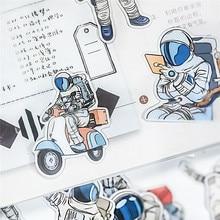 24 unidades/paquete Kawaii de pegatinas de papelería astronauta diario planificador de colección de recortes publicado It journal útiles escolares diy