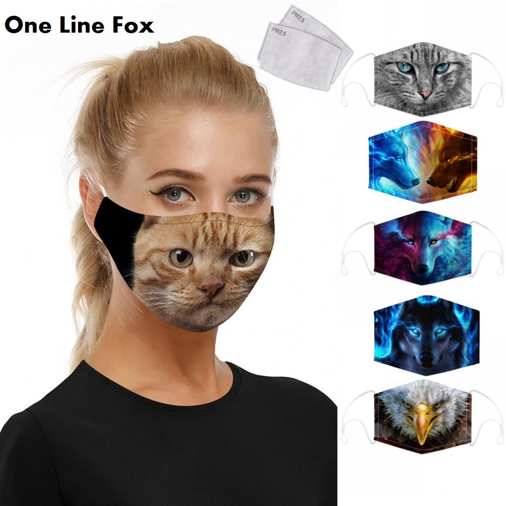 OneLineFox Animal Cat Wolf Print Reusable Protective PM2.5 Filter Mouth Mask Anti Dust Face Mask Bacteria Proof Flu Mask