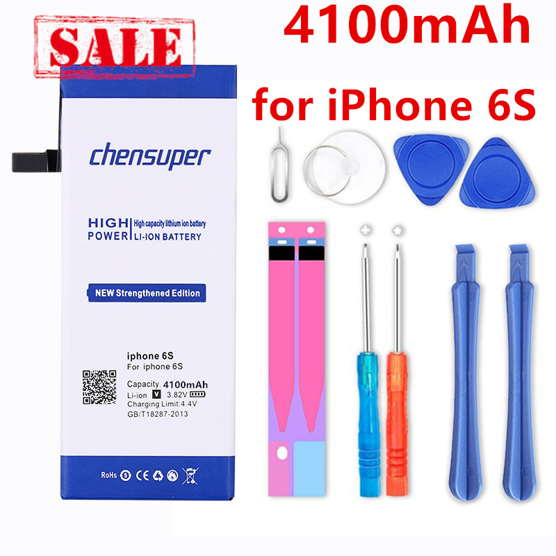 chensuper 4100mAh <font><b>Battery</b></font> For Apple <font><b>iPhone</b></font> <font><b>6S</b></font> for <font><b>iphone</b></font> <font><b>6S</b></font> <font><b>battery</b></font> Free Tools image