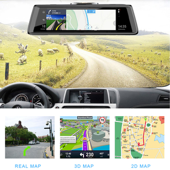 10 inch Touch screen Car DVR Rear View Mirror ADAS Bluetooth WIFI 1080p Camera Mirror Navigator Video Recorder for Phisung E05 image