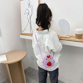 Dzieci dzieci PU skórzane portmonetki mały uroczy kurczak kreskówka portfel dziewczyny torba na ramię tanie i dobre opinie 316820 5 1cm Animal prints Na co dzień Poduszki WOMEN 13cm