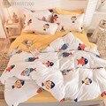 Детский комплект постельного белья с мультяшным принтом, пододеяльник, простыня, наволочки, 3D комплект постельного белья с цветочным рисун...