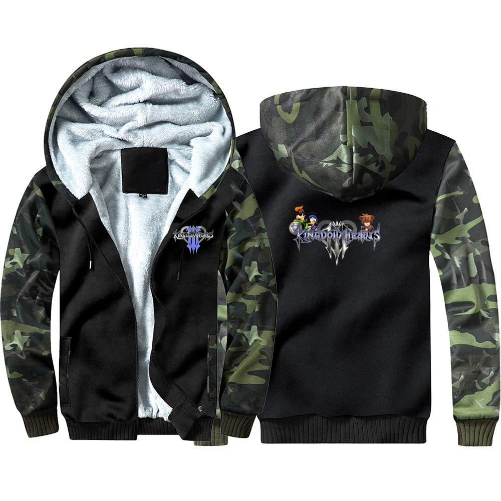 New Kingdom Hearts 3 Camouflage Hoodie Sweatshirts Winter Thicken Hooded Coat Cosplay Costume Warm Men Women Clothing