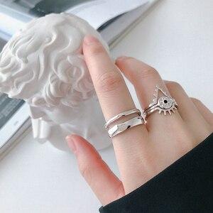 Image 5 - Bagues irrégulières en Argent Sterling coréen pour femmes, redimensionnables, bijou fait à la main, bijoux 925