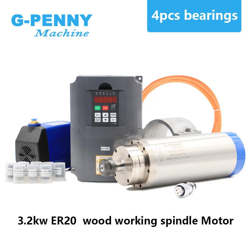 3.2kw refrigerado a água do eixo er20 4 pces rolamentos cerâmicos 0.01mm precisão & hy 220v 4.0kw inversor & 100mm suporte & bomba de água