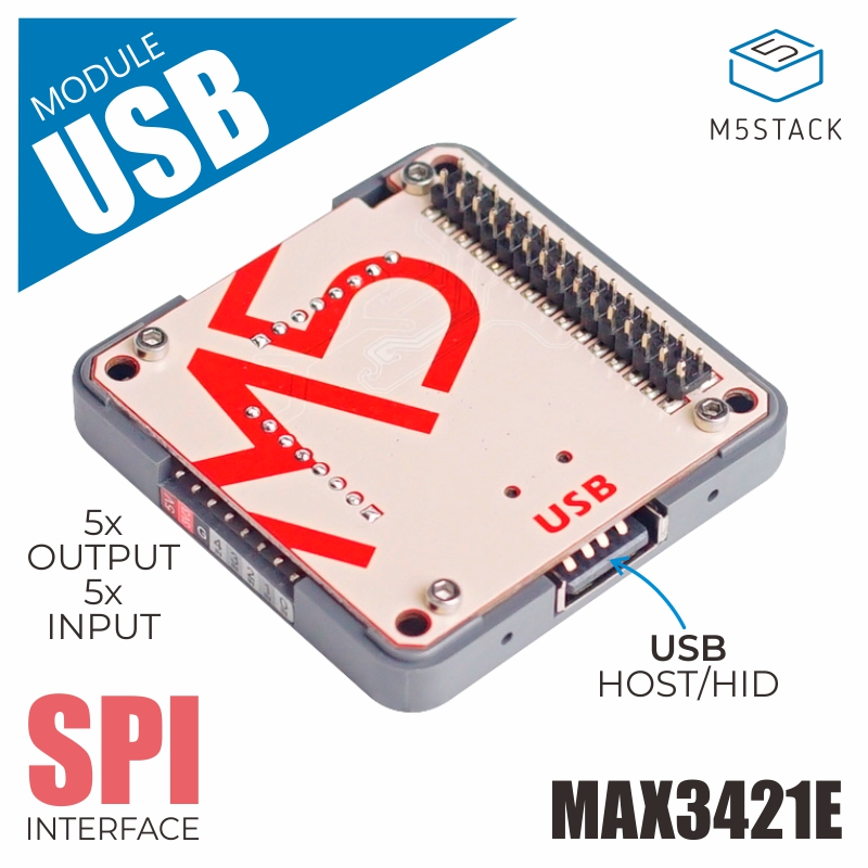 M5Stack New USB Module USB HOST/HID With MAX3421E SPI Interface Output*5 Input*5 Compatible With M5Stack ESP32 StackabLE Kit