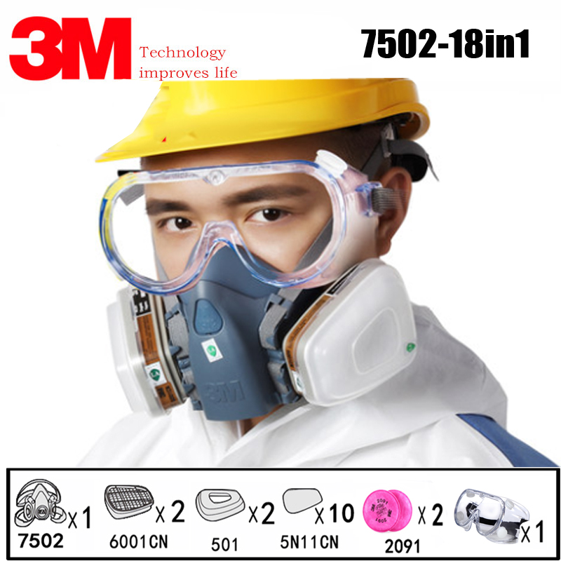 18 In 1 3M 7502 Half Face Safety Respirator Gas Mask With 3M 1621 Goggles Painting Spraying Industry Anti Dust Mask