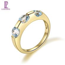 LP anillo de compromiso de oro amarillo para mujer, 5mm, piedras preciosas naturales, Topacio azul cielo, 925 anillos de plata esterlina, joyería fina