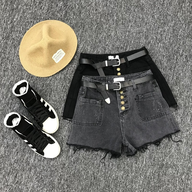 2020 Free Shiping Beach Shorts Trousers Short Jeans Female High Waist Loose Denim Female Lady Buttons Tassel Slim Fit Shorts
