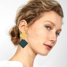 Korea Simple Alloy Drop Earrings Elegant Geometric Square 2 color Dangle Earring Fashion Statement Female Jewelry 2019