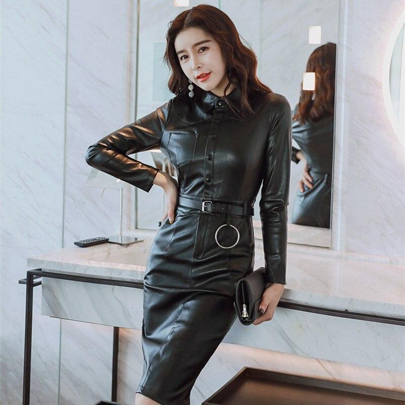 Femmes PU cuir robes fermetures à glissière Faux PU cuir Robe élasticité Slim Robe Turn Down col Faux cuir noir Robe mi-longue