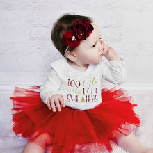 My First Christmas Newborn Baby Girl Clothes Long Sleeve Letter Cotton Bodysuit Romper Tulle Skirt Headband Girls Xmas Ropa Niña(China)