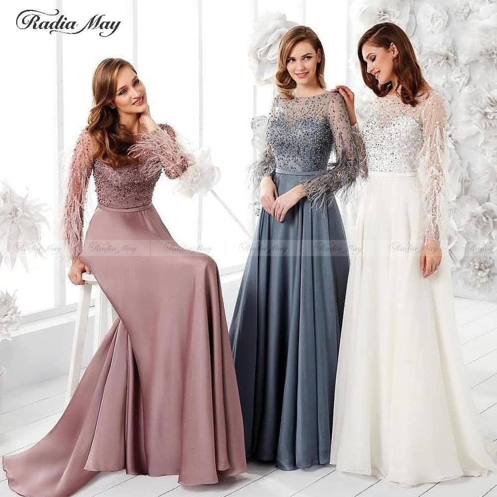 Dusty Pink Dubai Long Sleeve Feathers Muslim Evening Dresses 2019 Arabic Women Formal Gowns Beaded Crystal Gray Long Prom Dress