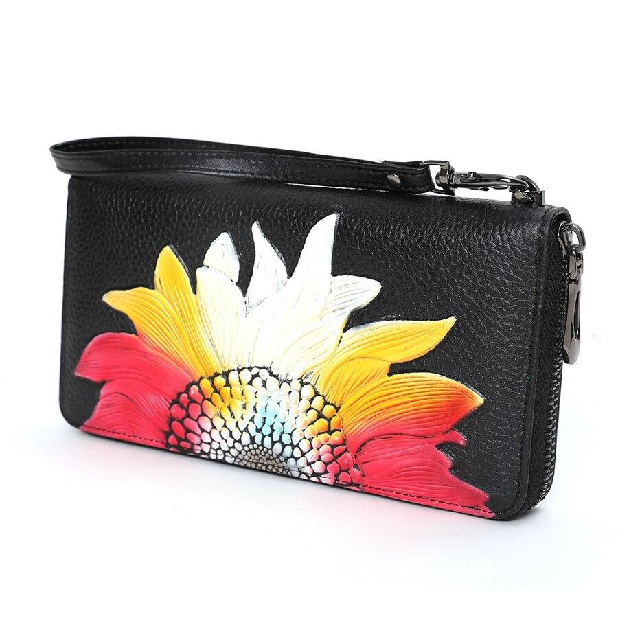 Cow Leather Women Purse Floral Woman Wallet Genuine Leather Female Purse Luxury Brand Women Wallets Long Ladies Hand Bag