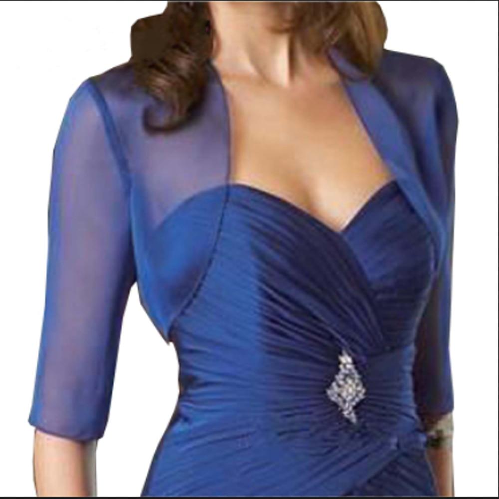 3/4 Quarter Sleeves Wedding Jacket Chiffon Bolero Jackets For Evening Party Coat Blue Bridal Jacket Custom Made
