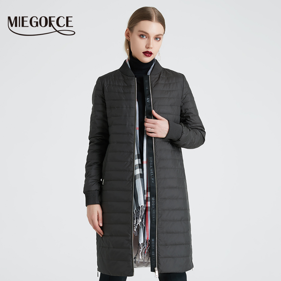 MIEGOFCE 2020 New Women's Spring Coat With A Scarf Women's Jacket Women Stand Collar Thin Section Cotton Clothing Designer New